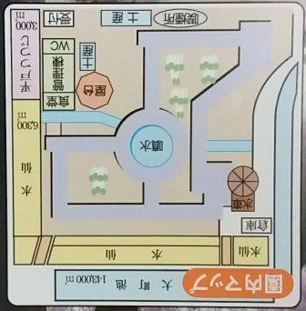 白井大町藤公園の園内図(上下反転)