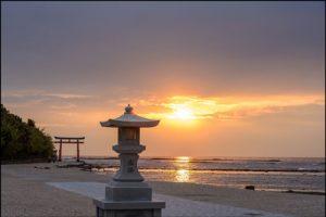 青島神社の夕陽アイキャッチ画像