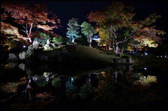 彦根城玄宮園の夜間ライトアップ