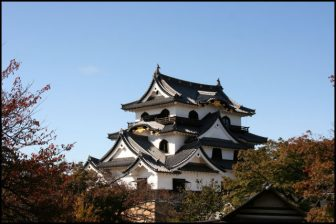 彦根城の天守の紅葉