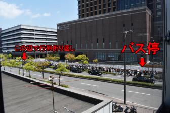 JR桜島駅前のバス待ち行列